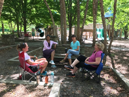 Azalea Park has a shaded area perfect for parents to