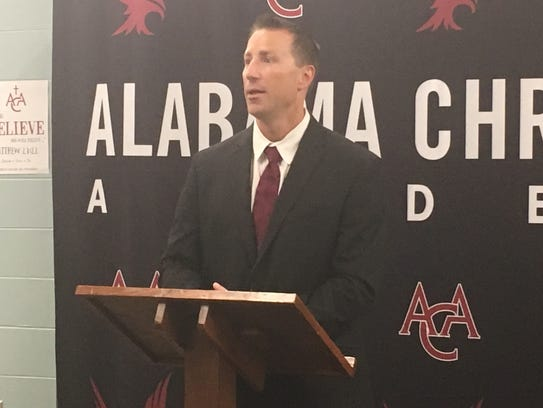 New ACA football coach Nate Sanford speaks at Wednesday's