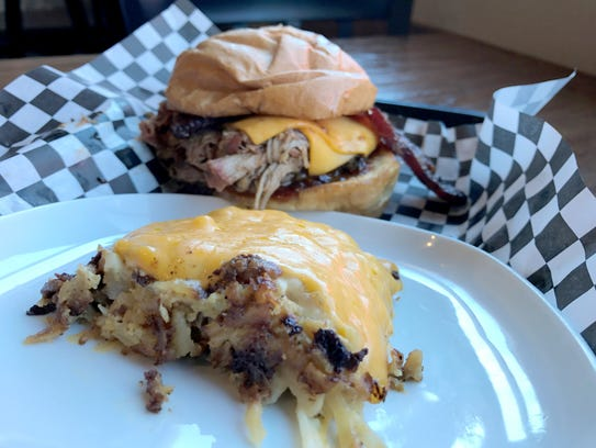 The Smoked Pork Burger at Pork Belly's Eatery in Cedar