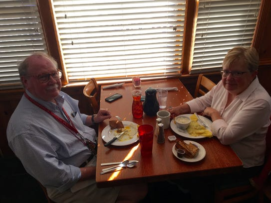 Carter and Cathy Lively eat breakfast at Mrs. Rowe's