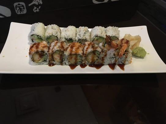 A California roll and tempura shrimp roll at Kyoto