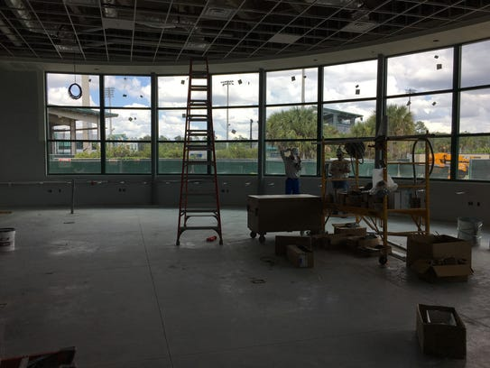 The view from inside the new academic center.