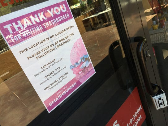 A sign at the shuttered Smashburger in Thousand Oaks
