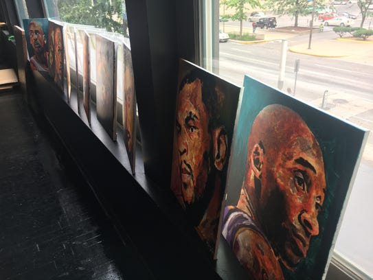 Several portraits created by artist Kevin West that