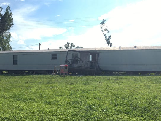 A mobile home was damaged on Flat Bottom Road in Cedar