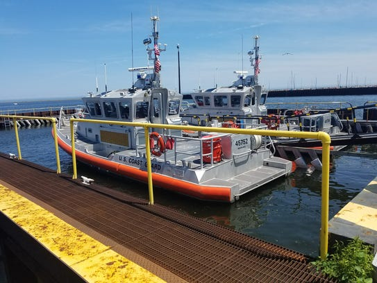 One of the U.S. Coast Guard boats docked at the Port