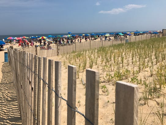 Umbrellas line Rehoboth Beach on July 14, 2017.