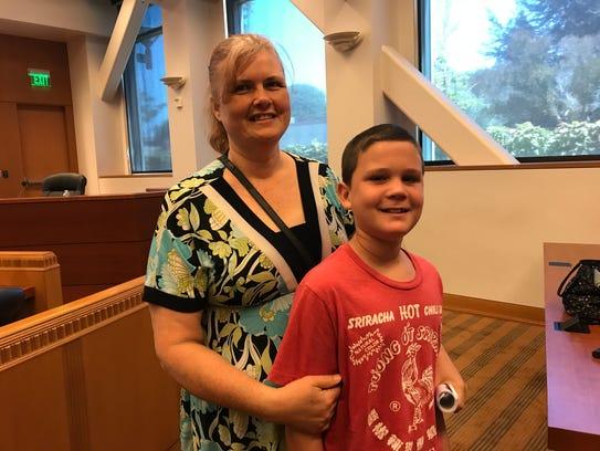 Left, Joan Sassman and her son Nathaniel Ashlin at
