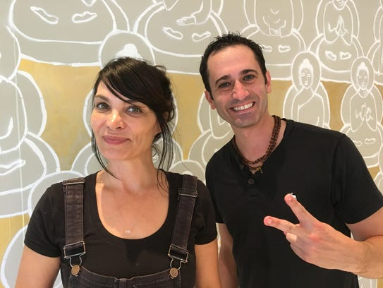 Artist and yoga celebrity Amanda Giacomini on left
