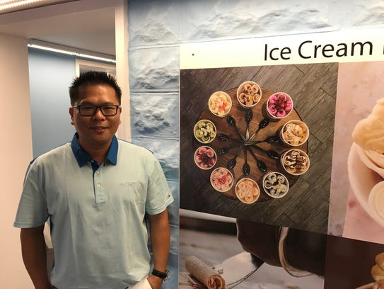 Jack Chen, South Pole Ice Cream Roll owner, stands