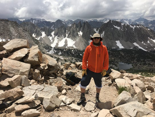 Outdoors writer Benjamin Spillman atop Kearsarge Pass