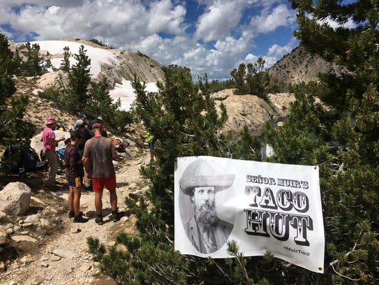 Hikers stop at the etherial Senor Muir's Taco Hut near
