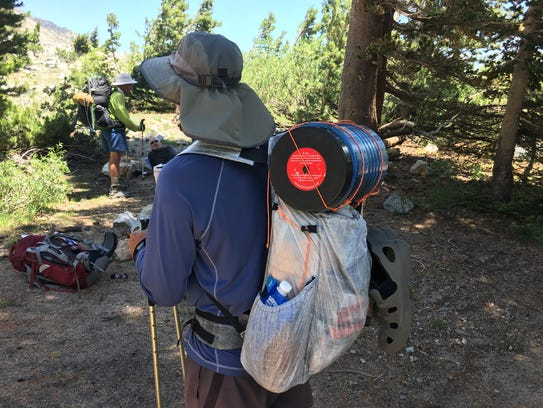 Cory O'Neill of Bend, Ore., wearing an ultralight backpack