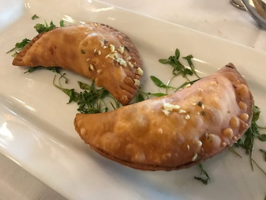 Empanadas were filled with grilled corn, poblano peppers
