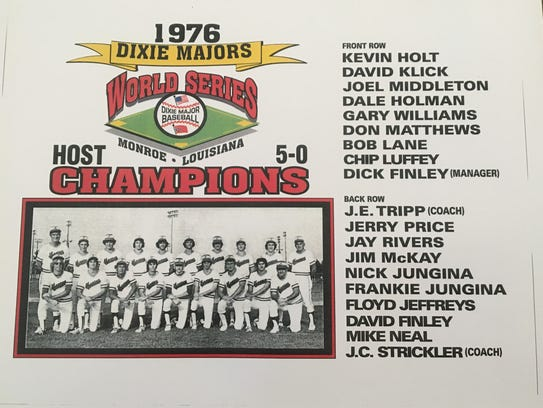 The 1976 Monroe Dixie Majors World Series champions.