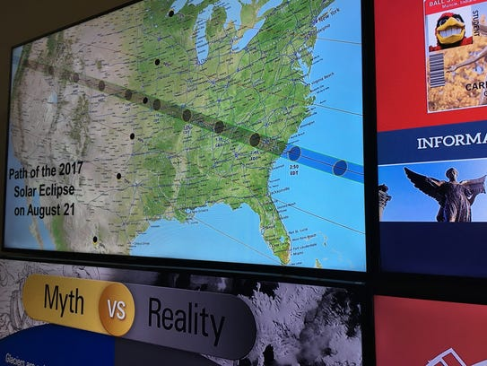 Digital message boards at the Charles Brown Planetarium
