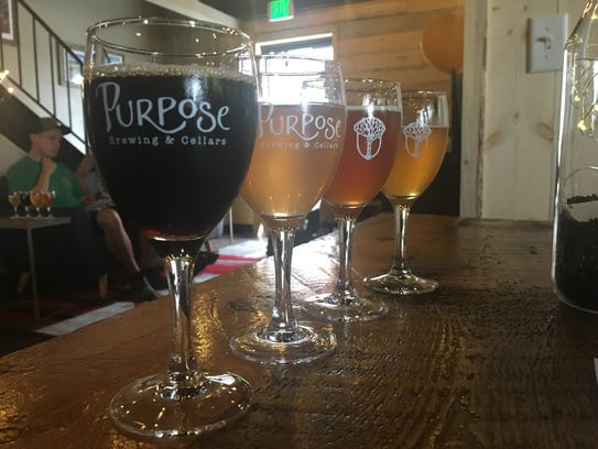 The debut beer lineup flight at Purpose Brewing & Cellars.
