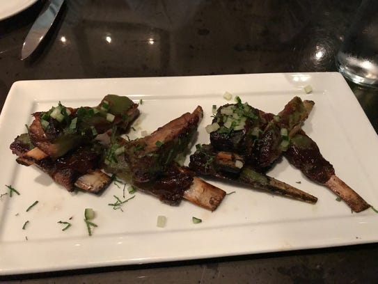 Lamb ribs with fig barbecue sauce and mint at The Franklin.