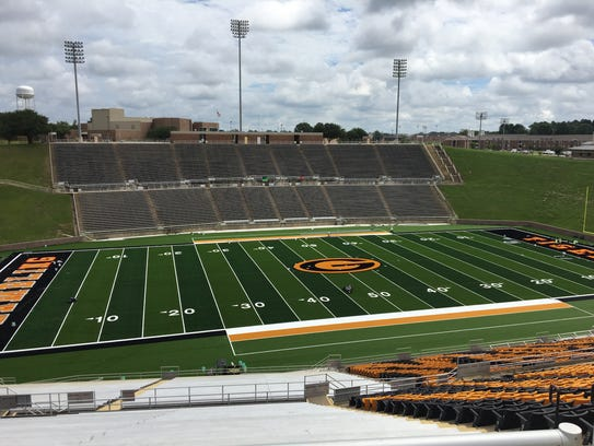 Full field view of the new artificial turf at Eddie