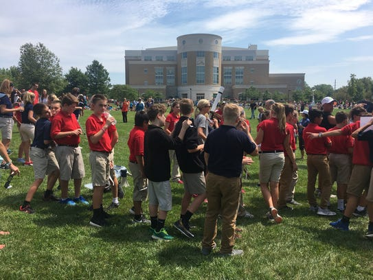 About 750 local students in grades K-8 visited University