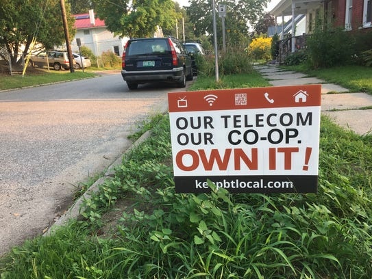 A yard sign in Burlington seen Monday, Aug. 21, 2017,