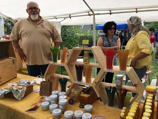 Tom Rathbun of Clyde explains bees and beekeeping at