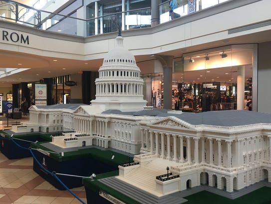 A U.S. Capitol replica built of Lego pieces is on display