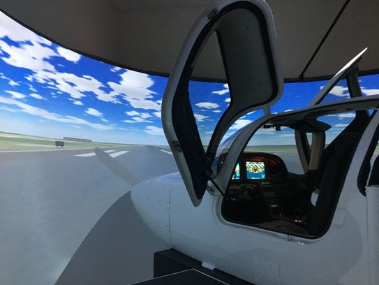The nose of the Frasca flight simulator on the Charlotte