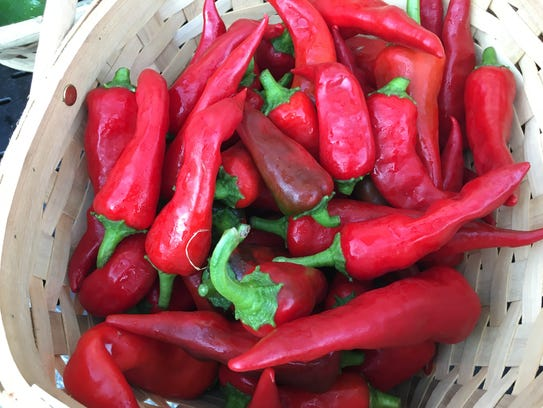 A basket of Christopher Farm peppers at Minnetrista