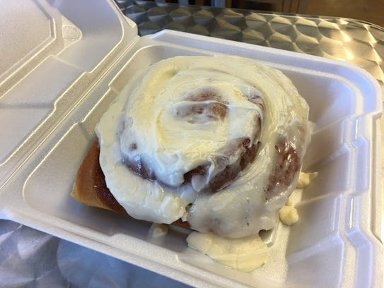The giant cinnamon roll at Muddy Bees is as big as