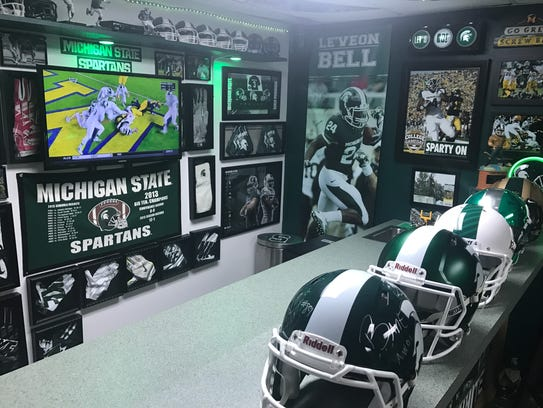 Jim Green's MSU man cave at his home south of Lansing
