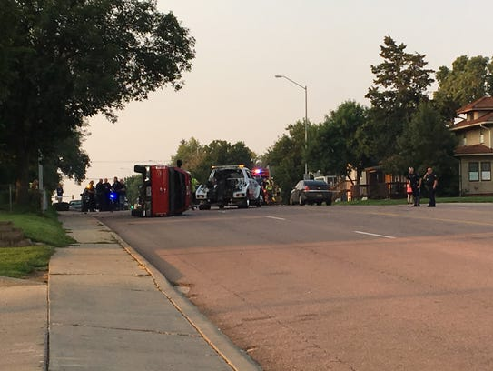 A three-car crash injured one Thursday, Aug. 31, when