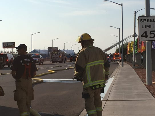 Firefighters battled the 2nd alarm fire at a landscaping