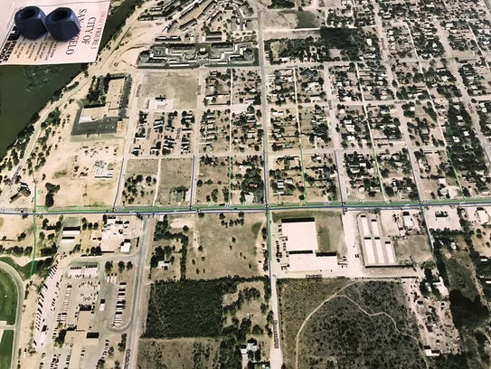 An aerial view of Bell Street.
