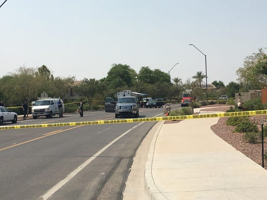 The scene of the shooting on Lakeside Parkway.