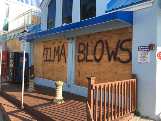 The Sandal Factory on Fort Myers Beach was boarded