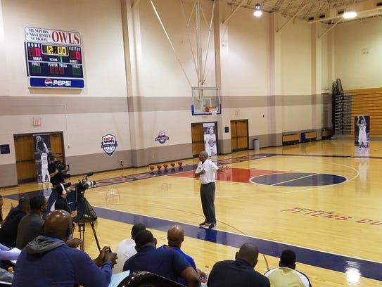 Memphis Coach Tubby Smith speaks during a USA Basketball