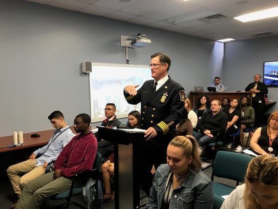 Linden Fire Chief Joseph Dooley speaks during a video