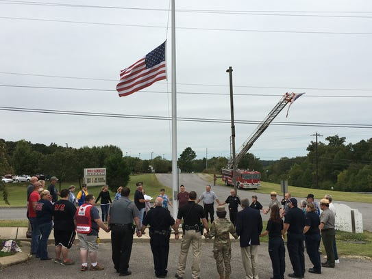 Local residents and local first responders gathered