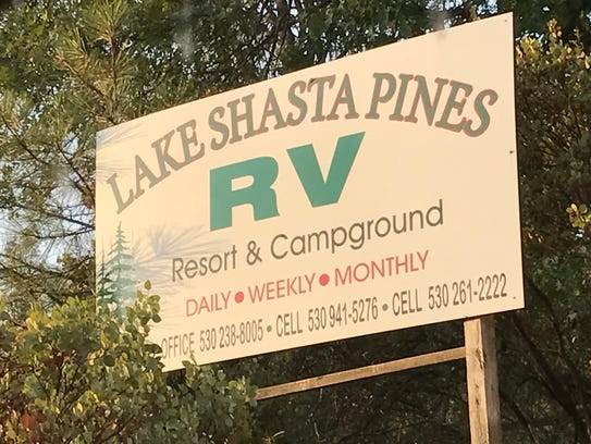 The entrance sign to the Lake Shasta Pines RV Resort