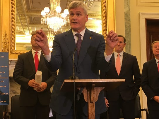 Sen. Bill Cassidy joined other Republicans at a press