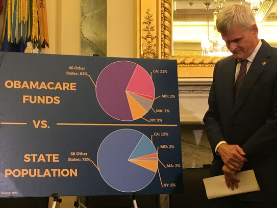 Sen. Bill Cassidy prepares to address reporters at
