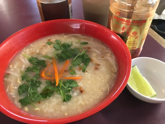 Bor Bor, chicken rice porridge, at Minie's Cafe