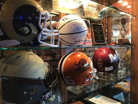 Football helmets from Clarkstown North, Clarkstown