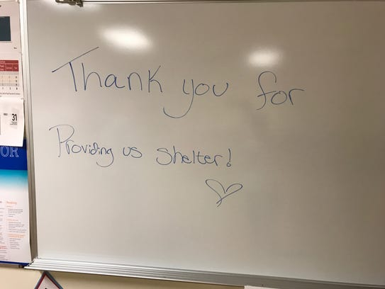Evacuees at Island Coast High School appreciated the