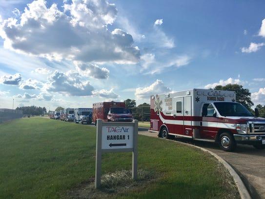 Ambulances line up at Shreveport Regional Airport on