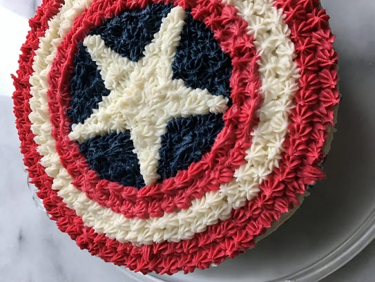 Red, white and blue cake