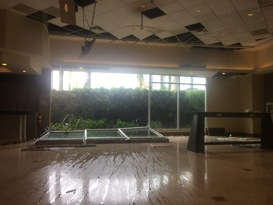 The Courtyard Marriott suffers damage from Hurricane