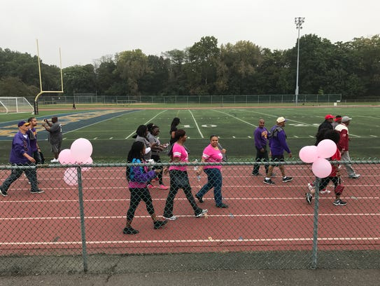 Participants walk in the inaugural Steps for Breasts
