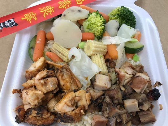 A combo plate of teriyaki and yakitori chicken with